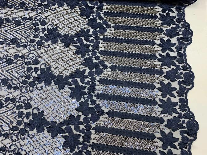 Navy Blue - Corded 3D Flowers/Floral Mesh Lace Sequins Fabric By The Yard For Gowns, Skirts, Prom Dresses - ICEFABRICS