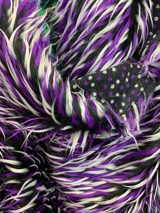 Purple White Black - Red Blue White - 3 Tone Long Pile Design Faux Fur Fake Fabric - IceFabrics