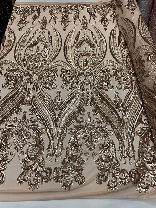 Dusty Rose Sequins Lace Fabric On Mesh Damask Design Embroidered On 4 way Stretch Sequin By The Yard Choose The Size Prom-Gown