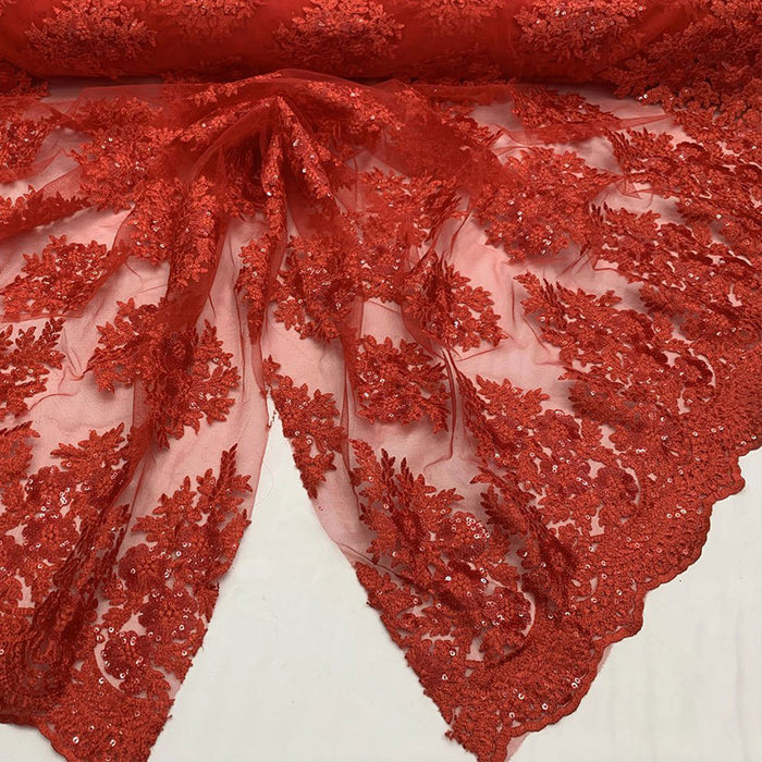 Red - Embroidered Corded Metallic Flowers On Mesh Lace Fabric With Sequins - IceFabrics