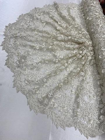 Ivory - Double 3D Flowers Beaded Lace By The Yard/Embroider Heavy Beaded Guipur Lace Fabric// Floral Flower Bridal Lace/Wedding Lace/Gowns - IceFabrics