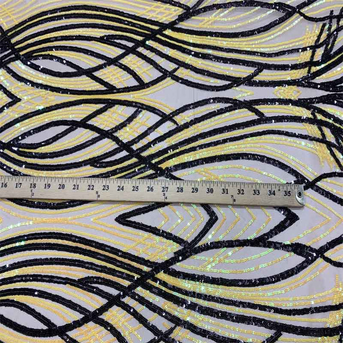 Yellow On Nude Mesh - Peacock Design 4 Way Stretch Sequins (Iridescent) By The Yard - ICE FABRICS