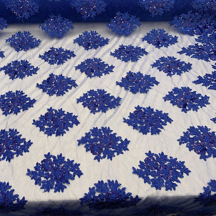 Royal Blue - Embroidered Corded Metallic Flowers On Mesh Lace Fabric With Sequins - IceFabrics