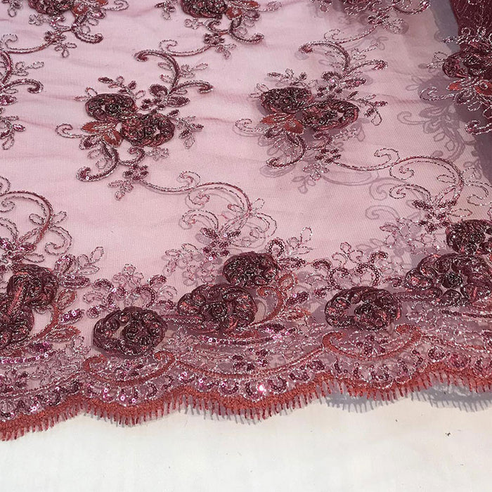 Burgundy - Embroidered Mesh Lace Flower Design With Sequins Fabric - IceFabrics