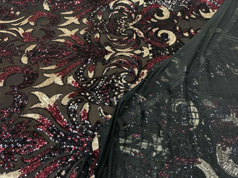 Wine Red and Gold Iridescent on Black - Geometric Design 4 Way Stretch Spandex Sequins Mesh Lace Fabric - IceFabrics