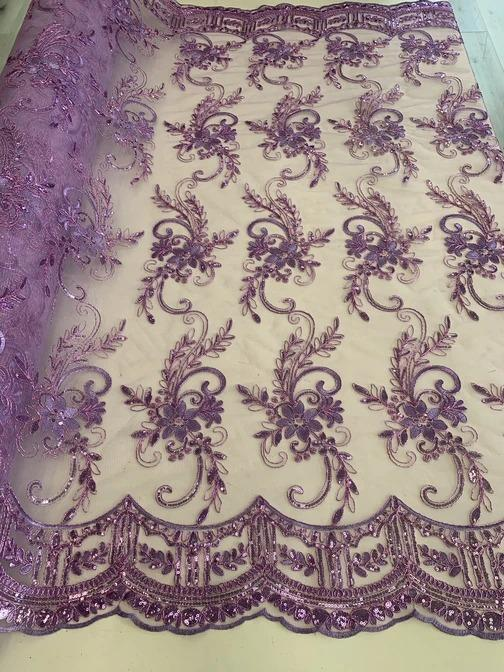 Lavender - Metallic Flowers Sequins On A Mesh Lace Fabric// Lace By The Yard//Floral Embroider Lace Tablecloths,Costumes,Decorations,Runners - ICE FABRICS