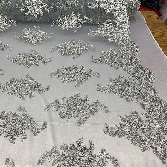 Gray - French Design Floral Mesh Lace Embroidery Fabric - IceFabrics