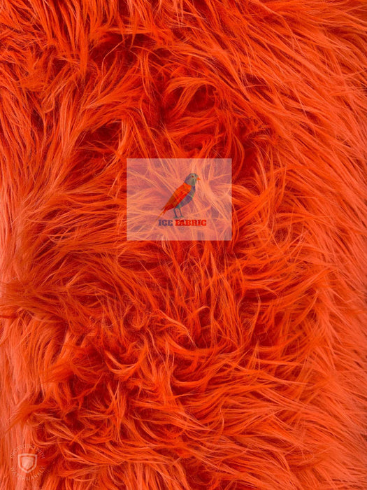Orange - Fur Coats, Fur Clothing, Blankets, Bed Spreads, Throw Blanket Fake Fur Solid Mongolian Long Pile Fabric / Sold By The Yard - IceFabrics