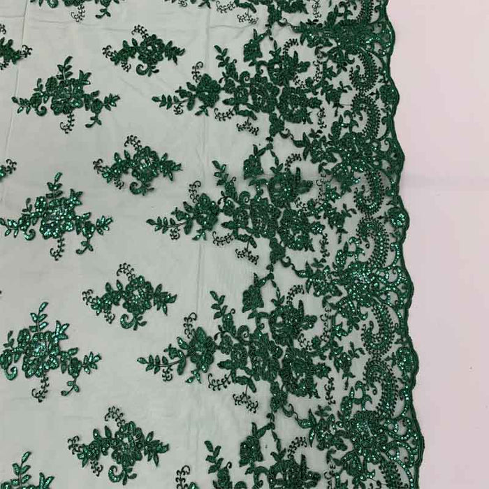 Hunter Green - Embroidered Bridal Fabric Mesh Lace Floral Flowers Fabric Sold by the Yard - IceFabrics