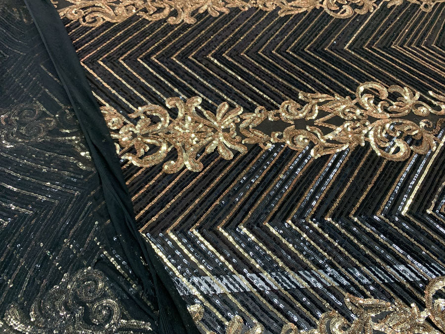 Black Gold On Black Mesh - Nadia 4 Way Stretch Sequins Spandex Embroider Fabric - IceFabrics