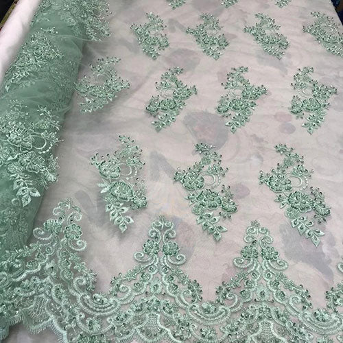 Mint - Embroidered Mesh Floral Beaded Lace Fabric - IceFabrics