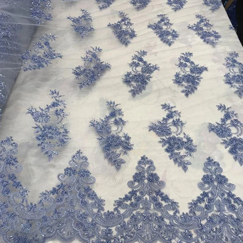 Power Blue - Embroidered Mesh Floral Beaded Lace Fabric - IceFabrics