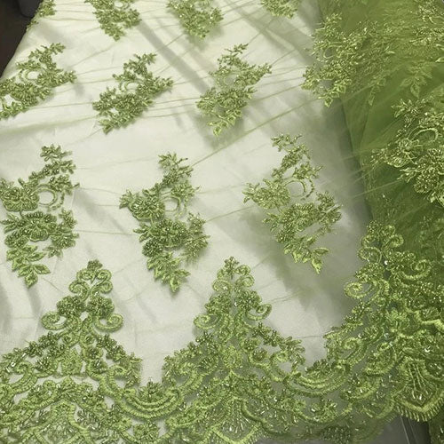 Lime - Embroidered Mesh Floral Beaded Lace Fabric - IceFabrics