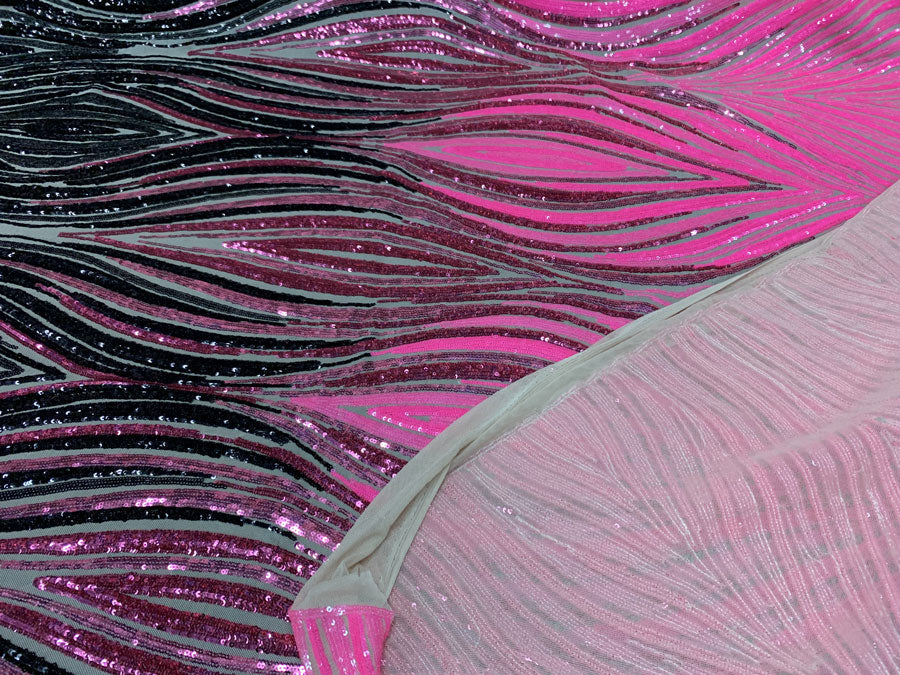 Neon Pink Black On Nude Mesh - New Wavy Geometric Prom 4 Way Stretch Sequins Fabric by the Yard - IceFabrics