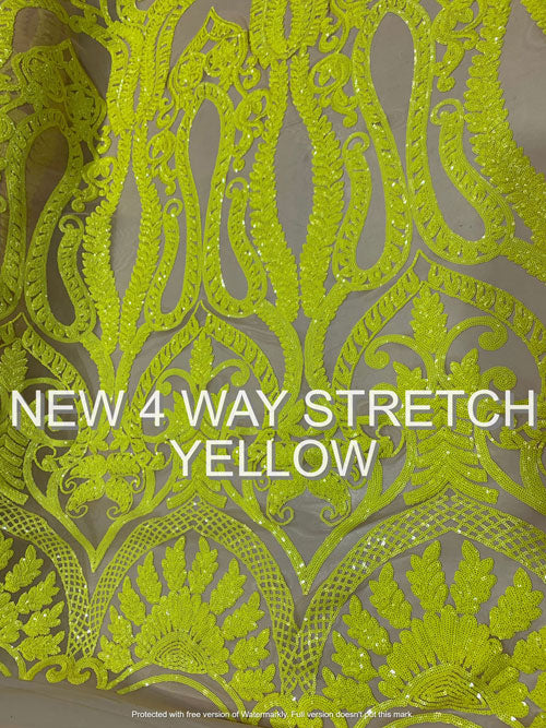 Yellow ON Nude Mesh - Geometric Sequins Spandex 4 Way Stretch Fabric - IceFabrics