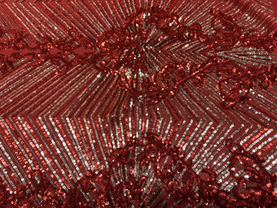 Red Gold On Red Mesh - Nadia 4 Way Stretch Sequins Spandex Embroider Fabric - IceFabrics