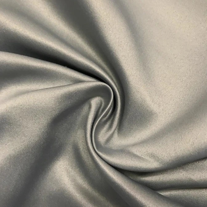"GREY - Matte Satin Fabric 100% Polyester By The Yard  60"" Wide - IceFabrics"