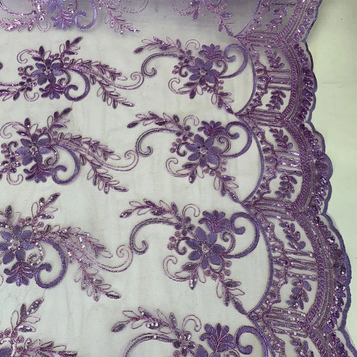 Lavender - Metallic Flowers Sequins On A Mesh Lace Fabric// Lace By The Yard//Floral Embroider Lace Tablecloths,Costumes,Decorations,Runners - ICEFABRICS
