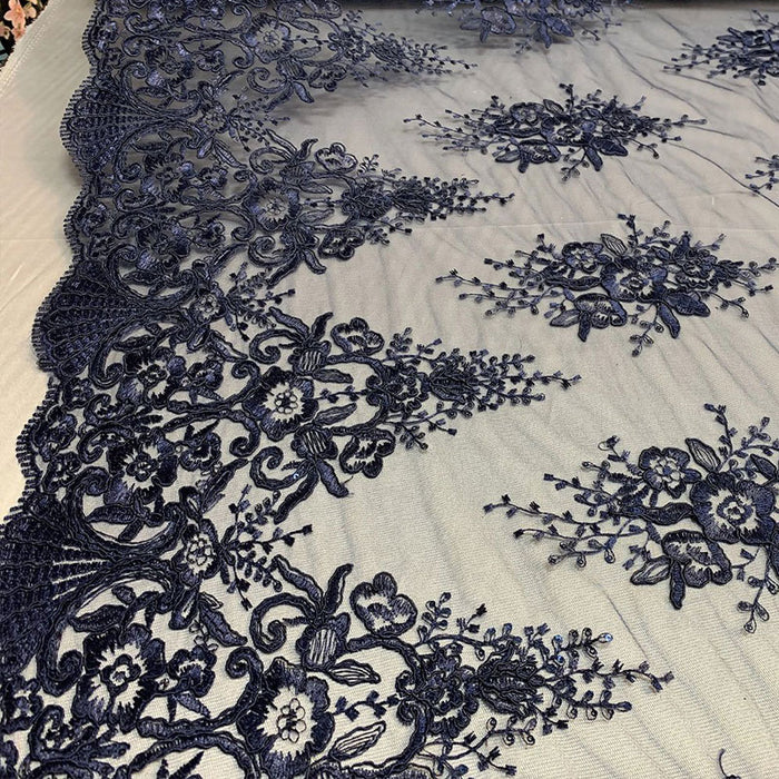 Navy Blue - Hand Made Mesh Lace Embroidery Fabric By The Yard (Dusty Rose, Pink) Flowers/Floral Lace Soft Mesh For Tablecloths,Runners,Skirts,Costumes - IceFabrics