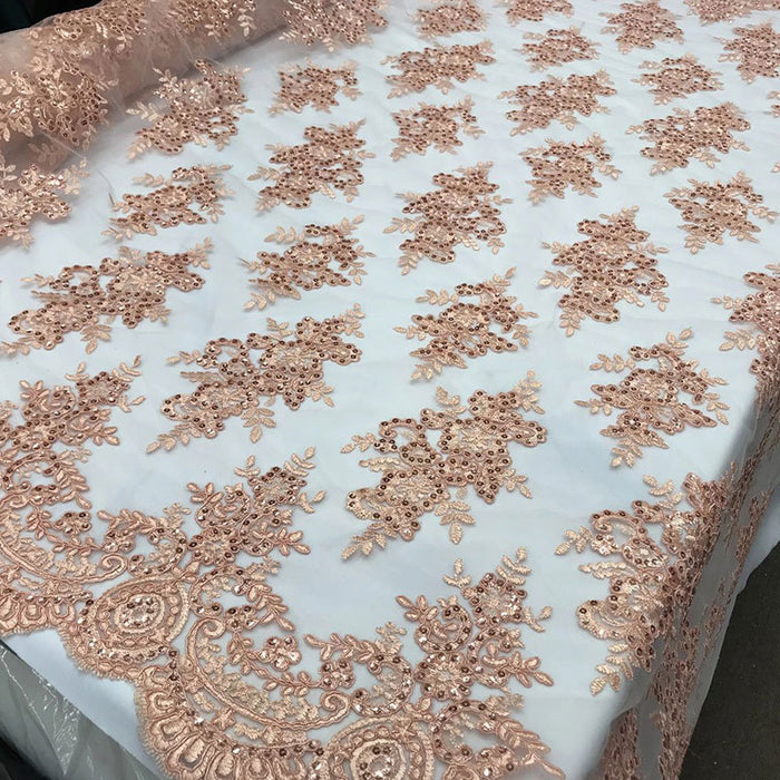 Blush - Modern flower design embroider on mesh with sequins and metallic cord-prom-nightgown-decorations-sold by the yard prom wedding decor - IceFabrics