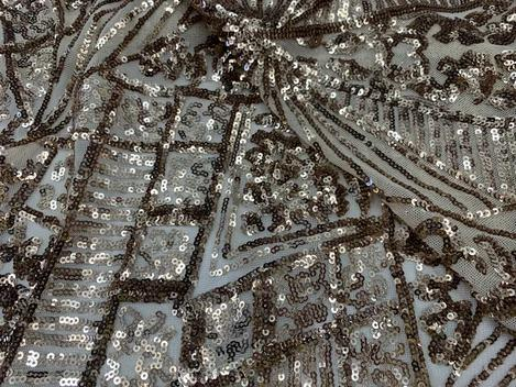 Gold - STRETCH SEQUINS Fabric By The Yard 4 Way Stretch Sequins Spandex Mesh Power Mesh Sequins Lace//Embroider Geometric Prom Sequins - IceFabrics