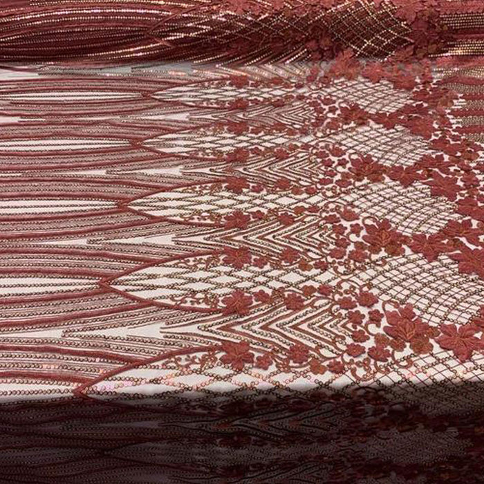 Burgundy - Corded 3D Flowers/Floral Mesh Lace Sequins Fabric By The Yard For Gowns, Skirts, Prom Dresses - ICE FABRICS