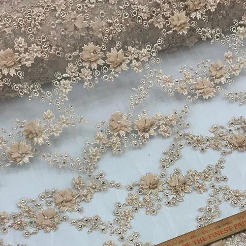 Champagne - Debora Design Beaded Mesh Lace Fabric 3D Flowers - IceFabrics