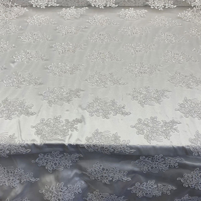 White - Embroidered Mesh lace Floral Design Fabric With Sequins By The Yard - IceFabrics