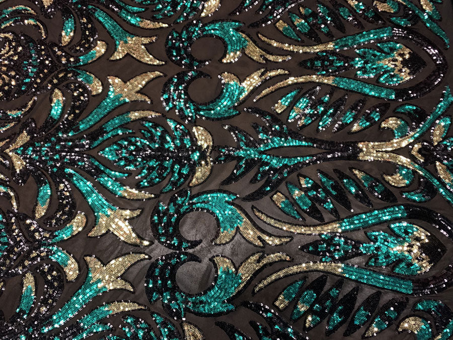 Hunter Green and Gold Iridescent on Black Mesh - Geometric Design 4 Way Stretch Spandex Sequins Mesh Lace Fabric - IceFabrics