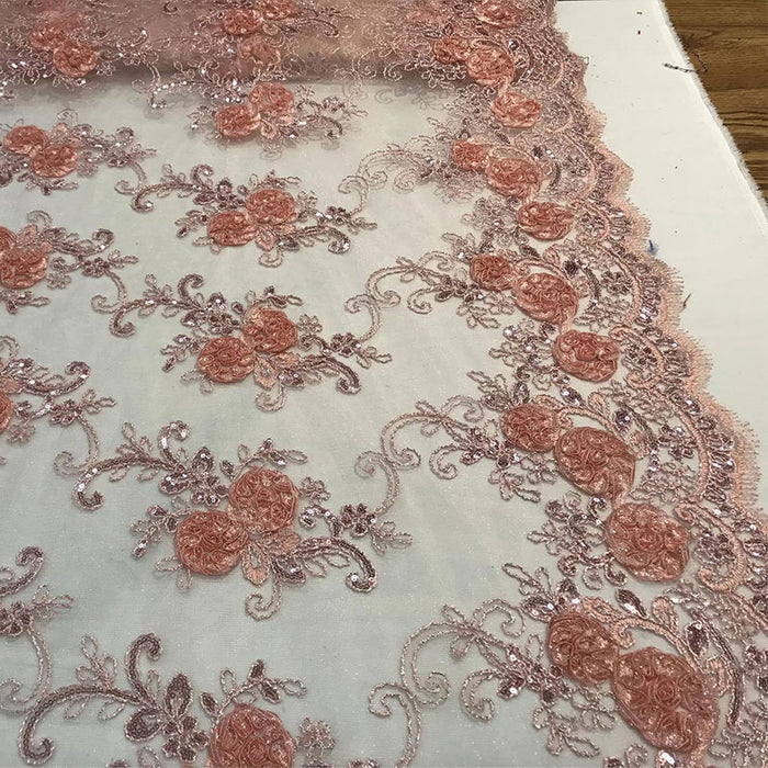 Peach - Embroidered Mesh Lace Flower Design With Sequins Fabric - IceFabrics