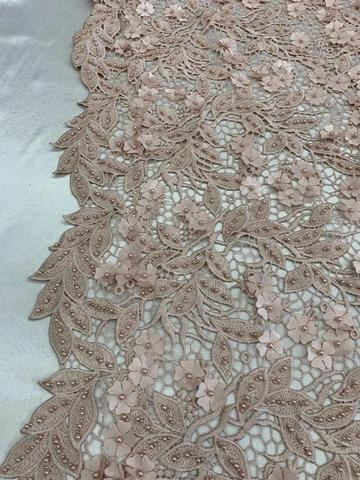 Dusty Rose - Double 3D Flowers Beaded Lace By The Yard/Embroider Heavy Beaded Guipur Lace Fabric// Floral Flower Bridal Lace/Wedding Lace/Gowns - IceFabrics