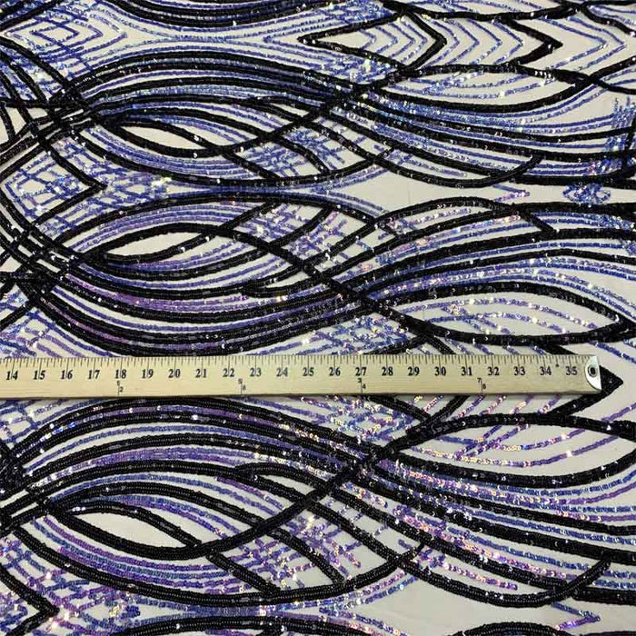 Purple Lilac On Nude Mesh - Peacock Design 4 Way Stretch Sequins (Iridescent) By The Yard - ICE FABRICS