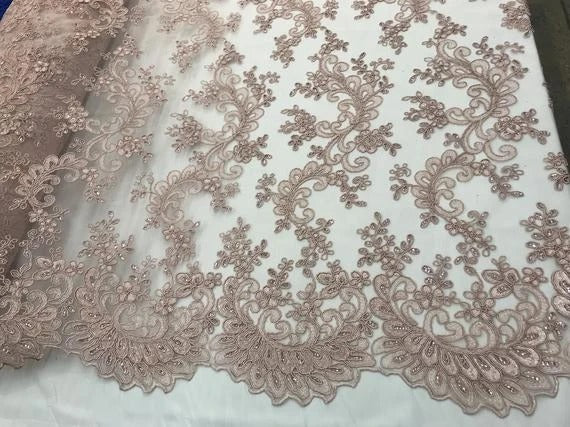 Mauve - Prom Design Transparent  Bridal Mesh Lace Embroidered Wedding Fabric - IceFabrics