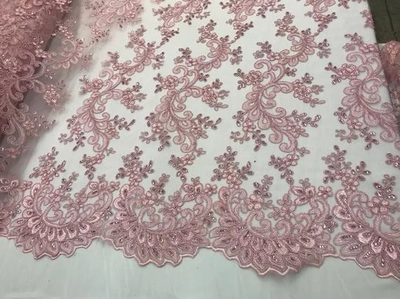 Pink - Prom Design Transparent  Bridal Mesh Lace Embroidered Wedding Fabric - IceFabrics