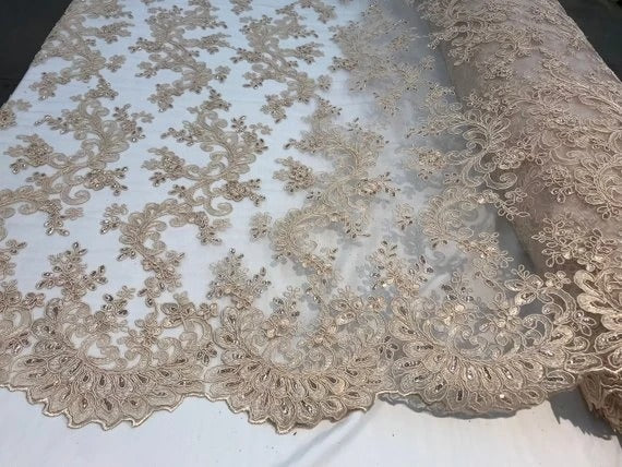 Champagne - Prom Design Transparent  Bridal Mesh Lace Embroidered Wedding Fabric - IceFabrics
