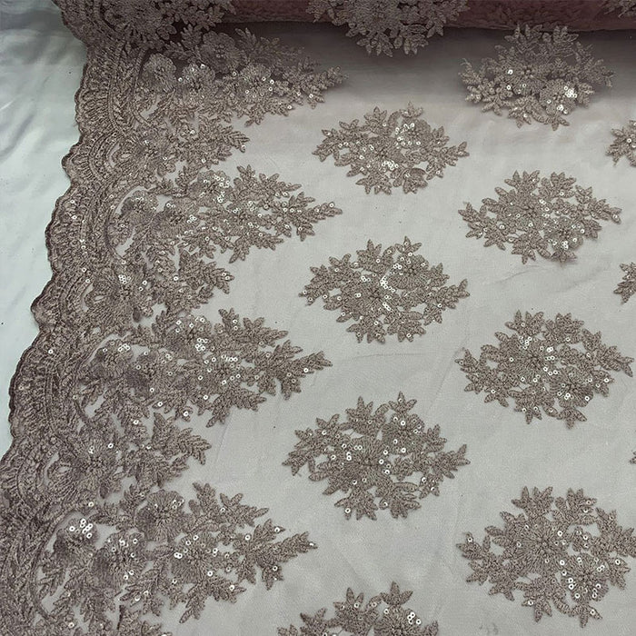 Blush - Embroidered Corded Metallic Flowers On Mesh Lace Fabric With Sequins - IceFabrics