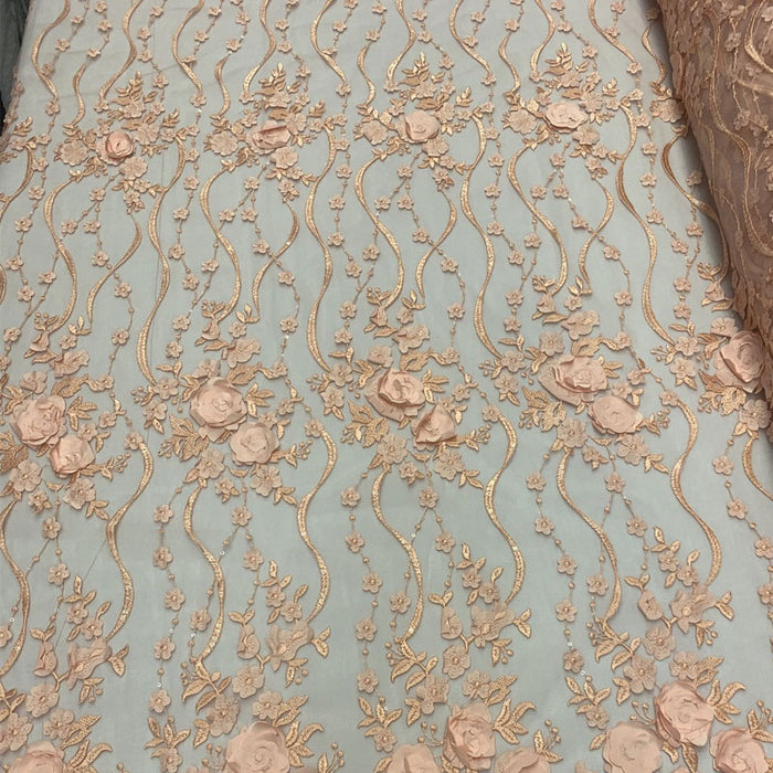 Peach - Luxury Design Embroidered Fashion Modern 3D Flowers Handmade Mesh Lace Fabric By The Yard - IceFabrics