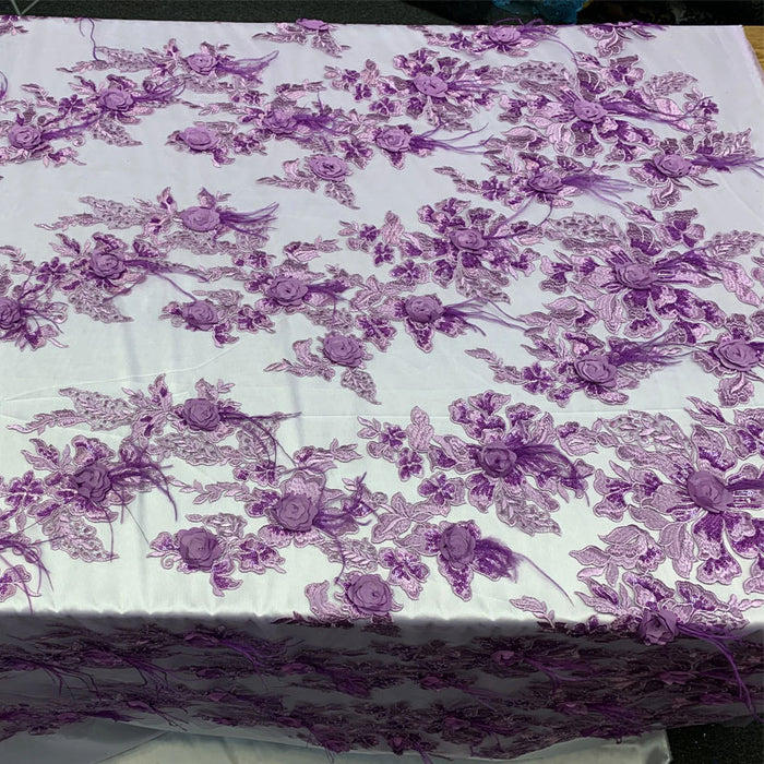 Lavender - Burgundy - 3D Luxury Feather Design Floral Mesh Lace With Sequins Embroidery By The Yard - ICE FABRICS