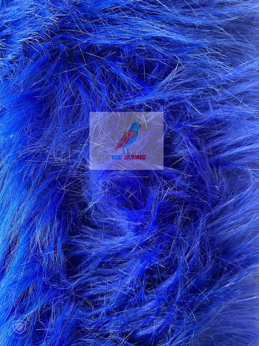 Royal Blue - Fur Coats, Fur Clothing, Blankets, Bed Spreads, Throw Blanket Fake Fur Solid Mongolian Long Pile Fabric / Sold By The Yard - IceFabrics