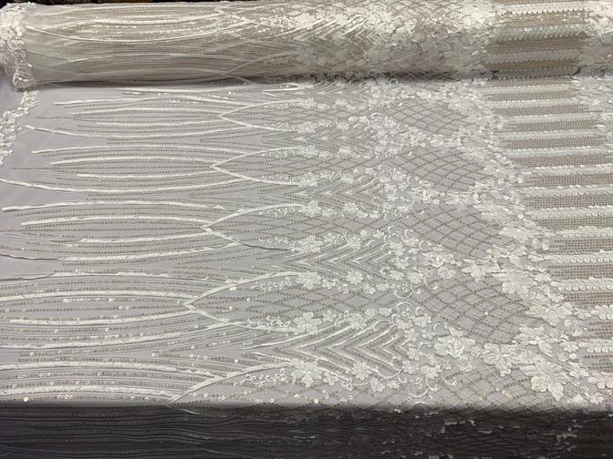 Ivory - Corded 3D Flowers/Floral Mesh Lace Sequins Fabric By The Yard For Gowns, Skirts, Prom Dresses - ICE FABRICS