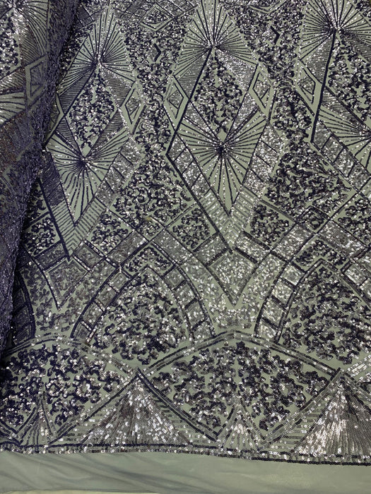 Lavender - STRETCH SEQUINS Fabric By The Yard 4 Way Stretch Sequins Spandex Mesh Power Mesh Sequins Lace//Embroider Geometric Prom Sequins - IceFabrics