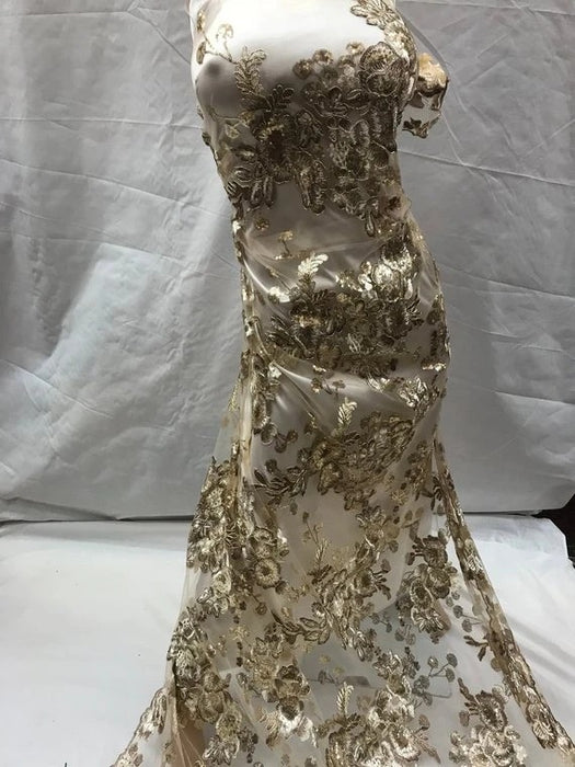 Gold - Design shop prom Bridal Design transparent Fabric Mesh lace Embroidered wedding decoration night gowns tablecloths fashion dresses - IceFabrics