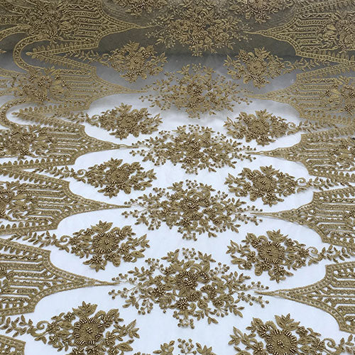 Dark Gold Or Taupe Design Beaded Lace Fabric By The Yard - IceFabrics