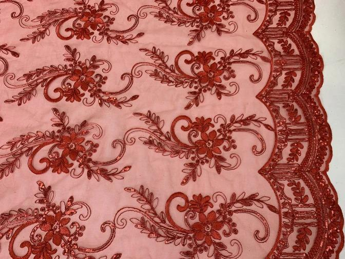 Red - Metallic Flowers Sequins On A Mesh Lace Fabric// Lace By The Yard//Floral Embroider Lace Tablecloths,Costumes,Decorations,Runners - ICEFABRICS