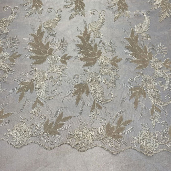 Cream/Ivory - FAST SHIPPING/ Mesh Lace Fabric Sold By The Yard Floral/Flowers Sequins Stretch Embroidered Handmade Lace/Tablecloths/ Dress For Decorations, Skirts, Runners, Tablecloths - IceFabrics