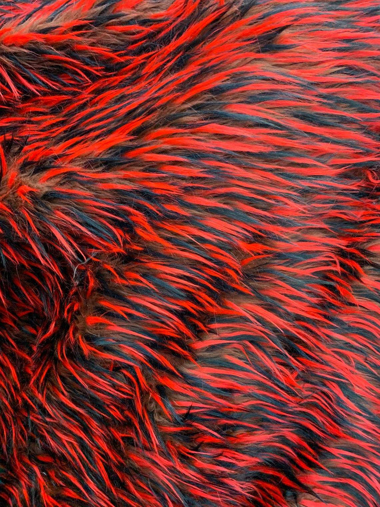 Red Brown Black - Red Blue White - 3 Tone Long Pile Design Faux Fur Fake Fabric - IceFabrics