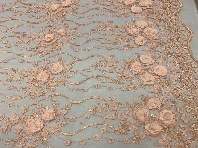 Peach - Luxury Design Embroidered Fashion Modern 3D Flowers Handmade Mesh Lace Fabric By The Yard - ICE FABRICS