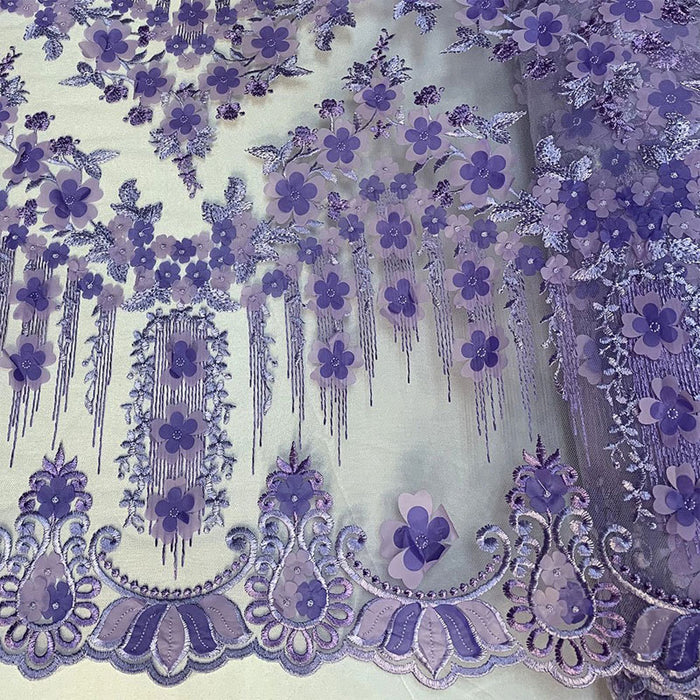 Lavender/Purple - French Lace 3D Flowers/Floral Design/ Embroidered Mesh Lace Fabric By The Yard  For Tablecloths, Wedding Prom Dress,Night Gowns - IceFabrics