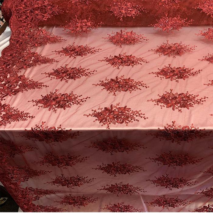 Burgundy - Hand Made Mesh Lace Embroidery Fabric By The Yard (Dusty Rose, Pink) Flowers/Floral Lace Soft Mesh For Tablecloths,Runners,Skirts,Costumes - IceFabrics