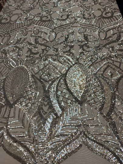 Silver On Gray Mesh - London Design 4 WAY Stretch Sequins Fabric Spandex - IceFabrics